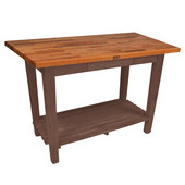 Oak Table Boos Block, 48'' W x 25'', 30'', or 36'' D x 35''H, With 1 Shelf, Walnut Stain