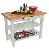 Oak Table Boos Block, 60'' W x 25'', 30'', or 36'' D x 35''H, With 2 Shelves, Alabaster