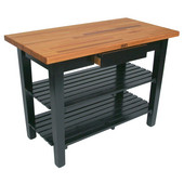 Oak Table Boos Block, 60'' W x 25'', 30'', or 36'' D x 35''H, With 2 Shelves, Black