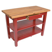 Oak Table Boos Block, 60'' W x 25'', 30'', or 36'' D x 35''H, With 2 Shelves, Barn Red
