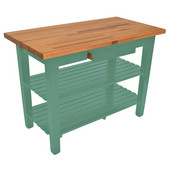 Oak Table Boos Block, 36'' W x 25'' D x 35''H, With 2 Shelves, Basil