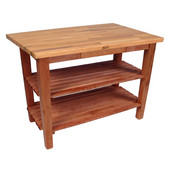 Oak Table Boos Block, 60'' W x 25'', 30'', or 36'' D x 35''H, With 2 Shelves, Warm Cherry Stain