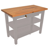 Oak Table Boos Block, 48'' W x 25'' D x 35''H, with Drawer and 2 Shelves, Useful Gray