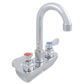 Pro Bowl Heavy Duty Wall Splashmount Faucet with 3-1/2'' Gooseneck Spout, 4'' On-Center Spread, Low Lead