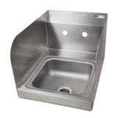Pro Bowl Space Saver Wall Mount Hand Sink with Side Splash with Splash Mount Faucet Holes, 9''W x 9''D x 5''H, Stainless Steel