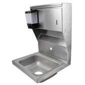 Pro Bowl Fabricated Space Saver Wall Mount Hand Sink with Soap & Paper Towel Dispenser, Stainless Steel, Splash Mount Faucet Hole Centered (Faucet Not Included), 14''W x 10''D x 5''H Bowl, 3-1/2'' Drain