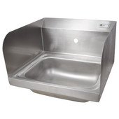 Pro Bowl Space Saver Wall Mount Hand Sink with Faucet and Side Splashes, Stainless Steel, 14''W x 10''D x 5''H Bowl