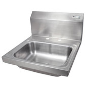 Pro Bowl Fabricated Space Saver Wall Mount Hand Sink, Stainless Steel, Deck Mount Faucet Holes with 4'' On-Center Spread (Faucet Not Included), 14''W x 10''D x 5''H Bowl, 1-7/8'' Drain