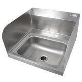 Pro Bowl Fabricated Space Saver Wall Mount Hand Sink with Left & Right Side Splash, Stainless Steel, Deck Mount Faucet Holes with 4'' On-Center Spread (Faucet Not Included), 14''W x 10''D x 5''H Bowl, 1-7/8'' Drain