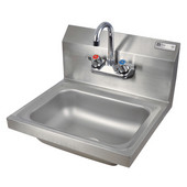 Pro Bowl Space Saver Wall Mount Hand Sink with Faucet, Stainless Steel, 14''W x 10''D x 5''H Bowl