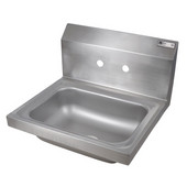 Pro Bowl Space Saver Wall Mount Hand Sink with Faucet Holes, Stainless Steel, 14''W x 10''D x 5''H Bowl