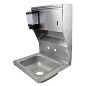 Pro Bowl Fabricated Space Saver Wall Mount Hand Sink with Soap & Paper Towel Dispenser, Stainless Steel, Splash Mount Faucet Holes with 4'' On-Center Spread (Faucet Not Included), 14''W x 10''D x 5''H Bowl, 3-1/2'' Drain