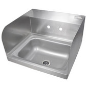 Pro Bowl Space Saver Wall Mount Hand Sink with Faucet Holes and Side Splashs, Stainless Steel, 14''W x 10''D x 5''H Bowl