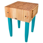 PCA Butcher Block with Knife Holder, Caribbean Blue, Multiple Sizes Available