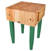 PCA Butcher Block with Knife Holder, Clover Green, Multiple Sizes Available