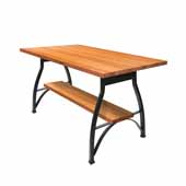 Foundry Collection 42'' Pub Bar Height Table, American Cherry Wood Top With Wrinkle Black Base, 84''W x 36''D x 42''H