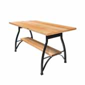 Foundry Collection 42'' Pub Bar Height Table, Northern Hard Rock Maple Wood Top With Wrinkle Black Base, 84''W x 36''D x 42''H