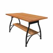 Foundry Collection 42'' Pub Bar Height Table, Appalachian Red Oak Wood Top With Wrinkle Black Base, 60''W x 42''D x 42''H