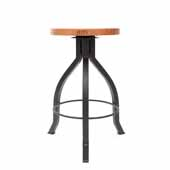 Foundry Collection 24'' Pub Counter Height Swivel Bar Stool, American Cherry Wood Top With Wrinkle Black Base, 15''Diameter x 24''H
