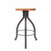 Foundry Collection 24'' Pub Counter Height Swivel Bar Stool, American Cherry Wood Top With Clear Coat Base, 15''Diameter x 24''H