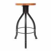 Foundry Collection 30'' Pub Bar Height Swivel Bar Stool, American Cherry Wood Top With Wrinkle Black Base, 15''Diameter x 30''H