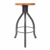Foundry Collection 30'' Pub Bar Height Swivel Bar Stool, American Cherry Wood Top With Clear Coat Base, 15''Diameter x 30''H