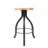 Foundry Collection 24'' Pub Counter Height Swivel Bar Stool, Northern Hard Rock Maple Wood Top With Wrinkle Black Base, 15''Diameter x 24''H