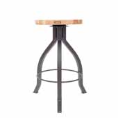 Foundry Collection 24'' Pub Counter Height Swivel Bar Stool, Northern Hard Rock Maple Wood Top With Clear Coat Base, 15''Diameter x 24''H