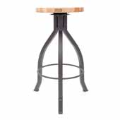 Foundry Collection 30'' Pub Bar Height Swivel Bar Stool, Northern Hard Rock Maple Wood Top With Clear Coat Base, 15''Diameter x 30''H