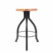 Foundry Collection 24'' Pub Counter Height Swivel Bar Stool, Appalachian Red Oak Wood Top With Wrinkle Black Base, 15''Diameter x 24''H