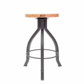 Foundry Collection 24'' Pub Counter Height Swivel Bar Stool, Appalachian Red Oak Wood Top With Clear Coat Base, 15''Diameter x 24''H