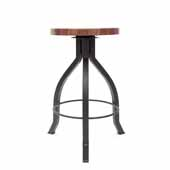 Foundry Collection 24'' Pub Counter Height Swivel Bar Stool, American Black Walnut Wood Top With Wrinkle Black Base, 15''Diameter x 24''H