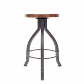 Foundry Collection 24'' Pub Counter Height Swivel Bar Stool, American Black Walnut Wood Top With Clear Coat Base, 15''Diameter x 24''H