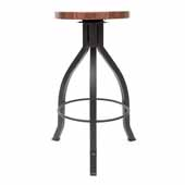 Foundry Collection 30'' Pub Bar Height Swivel Bar Stool, American Black Walnut Wood Top With Wrinkle Black Base, 15''Diameter x 30''H