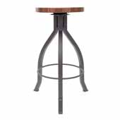 Foundry Collection 30'' Pub Bar Height Swivel Bar Stool, American Black Walnut Wood Top With Clear Coat Base, 15''Diameter x 30''H