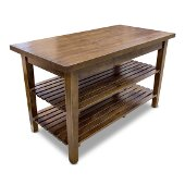 Boos 1887 Collection Rustic-Edge Table with Hardword Top in Carmel Stained Finish, 60'' W x 30'' D x 35'' H