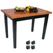 Le Classique Work Table 36'' W x 24'' D x 35'' H with Black Base, 1-1/2'' Thick American Cherry Top, Casters, Boos Block Cream Finish with Bees Wax