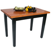 Le Classique Work Table 48'' W x 24'' D x 35'' H with Black Base, 1-1/2'' Thick American Cherry Top, Casters, Boos Block Cream Finish with Bees Wax