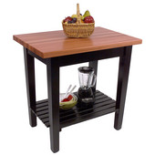 Le Classique Work Table 36'' W x 24'' D x 35'' H with Black Base, 1-1/2'' Thick American Cherry Top, (1) Drawer, (1) Slatted Shelf, Boos Block Cream Finish with Bees Wax