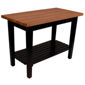 Le Classique Work Table 60'' W x 36'' D x 35'' H with Black Base, 1-1/2'' Thick American Cherry Top, (1) Slatted Shelf, Boos Block Cream Finish with Bees Wax