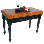 Le Rustica 48'' Kitchen Island Work Table with Black Base, 4'' Thick American Cherry End Grain Butcher Block Top