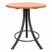 Foundry Collection 42'' Bistro Bar Height Table, American Cherry Wood Top With Wrinkle Black Base, 42''Diameter x 42''H