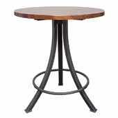 Foundry Collection 42'' Bistro Bar Height Table, American Black Walnut Wood Top With Wrinkle Black Base, 42''Diameter x 42''H