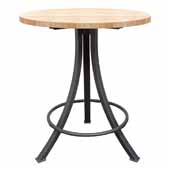 Foundry Collection 42'' Bistro Bar Height Table, Northern Hard Rock Maple Wood Top With Wrinkle Black Base, 36''Diameter x 42''H