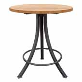 Foundry Collection 42'' Bistro Bar Height Table, Appalachian Red Oak Wood Top With Wrinkle Black Base, 42''Diameter x 42''H