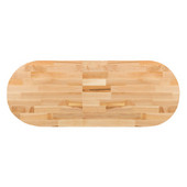 Maple Blended Butcher Block Table Top, Jointed Edge Grain Construction, Oval, 1/4'' Radius Edge, 48''W x 36''D x 1-1/2'' Thick