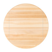 Soft Maple Butcher Block Table Top, Four Corner Drop Leaf, Flat Grain, Unfinished, Double Radius Edge, 52'' Dia.; 4CDL - 36''W x 36''D x 1-1/2''H