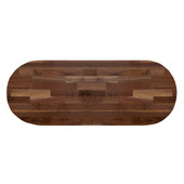 American Black Walnut Blended Butcher Block Table Top, Jointed Edge Grain Construction, Oval, 1/4'' Radius Edge, 48''W x 36''D x 1-1/2'' Thick
