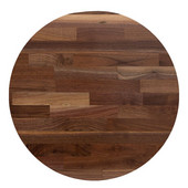 American Black Walnut Blended Butcher Block Round Table Top, Jointed Edge Grain, Double Radius Edge, 42''Diameter x 1-1/2'' Thick
