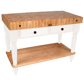 Cucina Rustica Kitchen Island 48'' W Work Table with Bottom Shelf, 4'' Thick End Grain Hard Maple Top, 48'' W x 24'' D, Alabaster